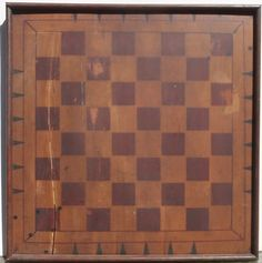 Antique-PA-Folk-Art-Game-Board-Primitive-Checkers-Chess-Paint-Americana-Signed