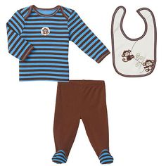Little Me Boys 3 Piece Brown/Blue Monkey Layette Set with Striped Long Sleeve Lap Shoulder Top, Footed Pant, and Bib