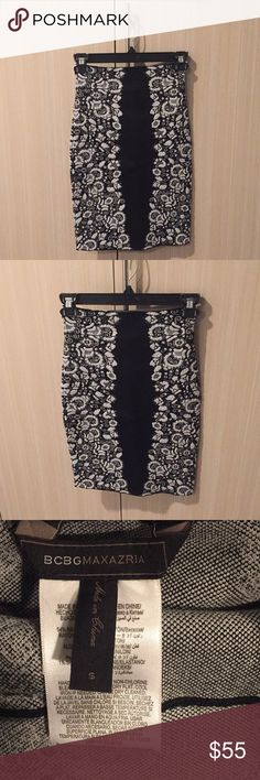 BCBGMaxAzria Stretchy  Skirt BCBGMaxAzria. Black and white. Stretchy. Skirt. Like new condition. Comfy. Versatile. True to size. Just above knee length on me and I'm 5'3. BCBGMaxAzria Skirts Midi