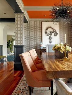 Dining Room with reclaimed table, colored chairs and persian rug. A Punch of Color-Home and Garden Design Ideas Dining Room Design, Dining Room Table, Dining Rooms, Wood Table, Dining Area, Orange Dining Room, Dining Chairs, Slab Table, Design Room