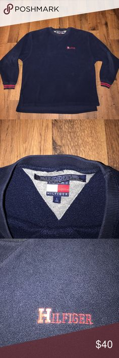 Large Vintage Tommy Hilfiger Spell Out Fleece Blue Excellent condition Tommy Hilfiger Sweaters Crewneck
