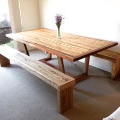 Rimu dining table with Rimu bench seats. Seats just need a sand and oil Dinning Room Tables, Dining Room Design, Dining Rooms, Table Designs, Home Renovation, Kitchen Ideas, Bench, Oil, Furniture