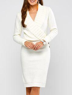 Casual Long Sleeve Shawl Collar Sweater Dress
