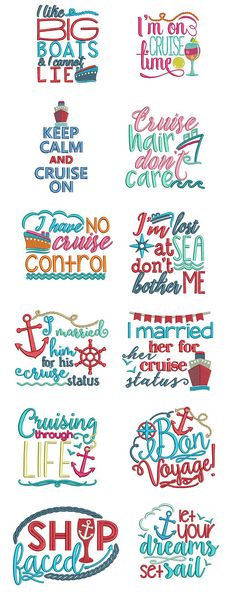 Cruise Lovers Word Art, Designs By JuJu Machine Embroidery Store View Cruise Tips, Cruise Travel, Cruise Vacation, Disney Cruise, Vacation Destinations, Cruise Party, Cruise Packing, Design Set, Word Art Design