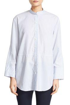 'Lenny' Fine Stripe Mandarin Collar Cotton Shirt