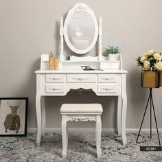 The mirror with drawers can be used as little dressing table, the table also can be used as office table, a desk, a entrance table when taking the mirror away. Songmics Vanity Mirror Dressing Table with Stool for Jewellery Makeup Matte White. Tocador Vanity, Dressing Table With Stool, At Home Store, Kids Room, Bedroom Decor, Home And Garden, House Design, Mirror, Chair