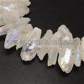 Electroplated Natural Crystal Nuggets Bead Strands G-M235-09