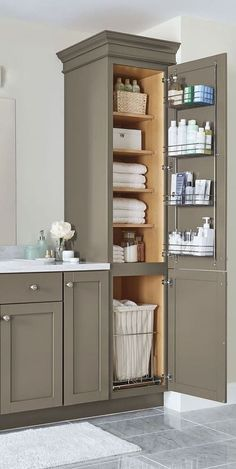 Surprising Cool Ideas: Master Bathroom Remodel Traditional bathroom remodel green home.Bathroom Remodel Before And After Builder Grade bathroom remodel stone budget.Mobile Home Bathroom Remodel Toilets. Bathroom Renos, Vanity Bathroom, Bathroom Hacks, Bathroom Bin, Bathroom Tower, Linen Cabinet In Bathroom, Glass Bathroom, Tall Bathroom Cabinets, Linen Closet In Bathroom