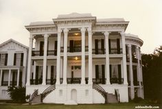 Nottoway Plantation, White Castle, Louisiana. This plantation is the largest antebellum plantation house left in the South which contains 64 rooms, 7 staircases, and 5 galleries. This 53,000-square foot plantation home was constructed in 1858.