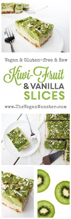 Raw Vegan Gluten-free Dairy-free No-Bake Kiwifruit Vanilla Slices Cake Recipe