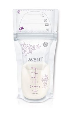 Philips Avent Breast Milk Storage Bags, Clear, 6-Ounce, 50 Pack, SCF603/50