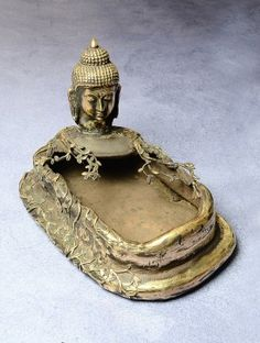 Stone-Brass Dhokra Buddha Pond Statue 13.5in x 8.5in x 9in