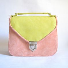 Mady duo coral & lime suede leather crossbody bag by goldenponies
