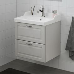 """GODMORGON / RÄTTVIKEN Sink cabinet with 2 drawers, Kasjön light gray, Hamnskär faucet, 24 3/8x19 1/4x26 3/4"""" - IKEA Steel Seal, Recycling Facility, Plastic Foil, Wash Stand, Drawer Fronts, Bathroom Wall, Faucet, Cleaning Wipes, Drawers"""