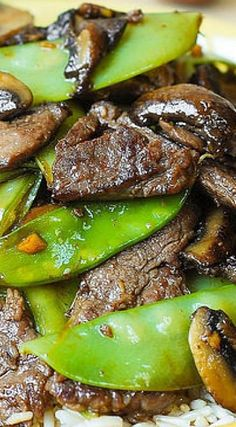 Asian Beef with Mushrooms & Snow Peas (homemade Asian Food, gluten free recipe, weeknight dinner idea)