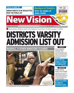 Get the Thursday copy of the New Vision here-https://vpg.visiongroup.co.ug/flippaper/personal/