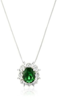 18 Sterling Silver Simulated Emerald and Created White Sapphire Pendant Necklace