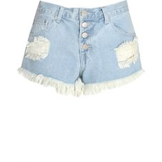 Glamorous Light Blue Stone Wash Distressed Denim Shorts ($6.50) ❤ liked on Polyvore featuring shorts, blue, relaxed fit shorts, blue shorts, torn shorts, light blue shorts and ripped shorts