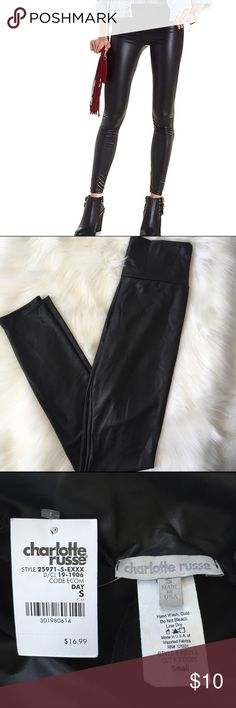 """Charlotte Russe High-Waisted Liquid Leggings Super cute high yoga-type waist liquid look leggings.  Brand new with tags, never worn.  They look a little wrinkly in the photo (sorry), but that shouldn't show at all when worn since they fit tight.  Waist measures 11"""" while laid flat.  Inseam measures about 27"""". Charlotte Russe Pants Leggings"""