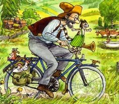 Pettson and Findus illustrated by Sven Norquist. Art And Illustration, Bicycle Illustration, Poster Shop, Illustrator, Ligne Claire, Nordic Art, Cat Art, Painting & Drawing, Childrens Books