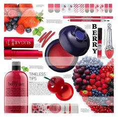 """""""fun berries"""" by cynthia6 ❤ liked on Polyvore featuring beauty, Tony Moly, Fresh, philosophy, Lancôme, TheBalm, Bubble T and Lipstick Queen"""