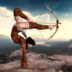 This archer has mastered archery to the point that they are able to use their legs as well as blindfold them self.