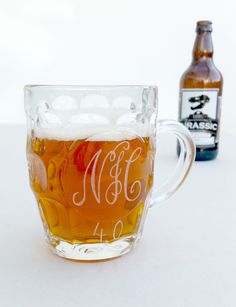 Personalised glass beer tankard Fathers day by CoveCalligraphy