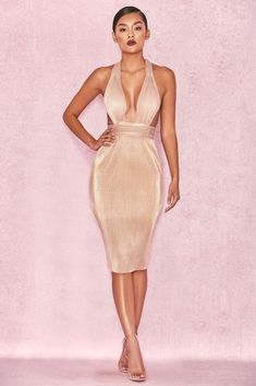 1ab7a643ec3 HOUSE OF CB  Isolde  Metallic Gold Pleated Dress L 12   14 SG 558
