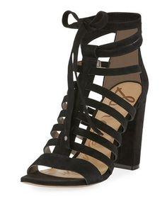 SAM EDELMAN Yarina Caged Suede Sandal, Black. #samedelman #shoes #sandals