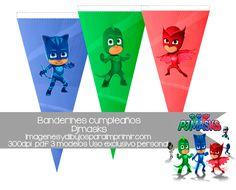 #banderines de pj masks de #disney para imprimir en pdf #free #printables #disney