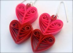 Quilled Paper Earrings - 'Heart Throb'