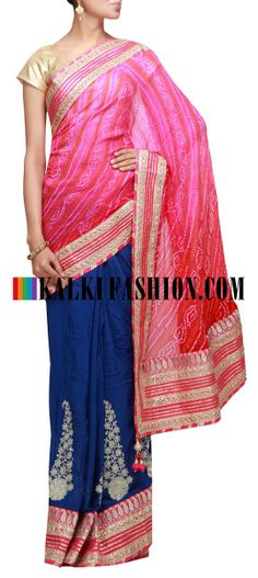 Buy Online from the link below. We ship worldwide (Free Shipping over US$100) http://www.kalkifashion.com/half-and-half-shaded-bandhani-saree-in-pink-and-blue-highlighted-in-pita-zari-embroidery.html Half and half shaded bandhani saree in pink and blue highlighted in pita zari embroidery