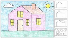 hoe teken je een huis. op deze site staan nog veel meer voorbeelden hoe iets te tekenen.