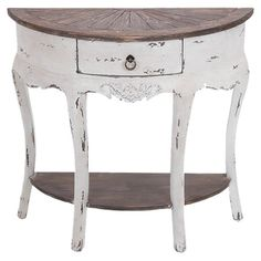 """Featuring a demilune silhouette with bowed legs and carved apron detail, this weathered wood console table is finished with a ring-pull drawer perfect for storing candles and essentials.   Product: Console tableConstruction Material: WoodColor: Distressed natural and whiteFeatures: One drawer and one shelf for storageDimensions: 31"""" H x 32"""" W x 13"""" D"""