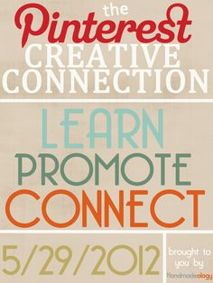 The Pinterest Creative Connection - 5/29/2012  Here are the rules of engagement:    1.   Head over to where the original pin is pinned ::: HERE >> http://pinterest.com/pin/201958364510368076/   2.  Leave your links : shop, website, blog, facebook, twitter, and Pinterest!    3.  Like the pin and repin it    Remember Pinterest is social network, and the more we like, repin ,comment, and share the more it will spread and the more exposure everyone will get.