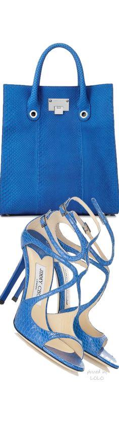 Jimmy Choo blue crocodile shoes and handbag. www.misskrizia.com