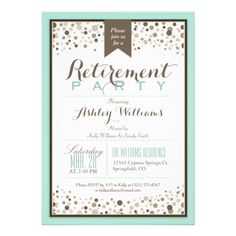 1341 best retirement party invitations images on pinterest robins egg blue taupe modern retirement party 5x7 paper invitation card stopboris Image collections