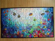 Fish Bowl Quilt Block Pattern Free Paper Pieced Fish Quilt Patterns Easy Fish Quilt Patterns Underwater Reef Watercolor Impressionist Quilted Wallhanging Art Fish Quilt Decor