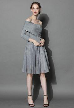 Wrap in Grace Off-shoulder Tulle Dress in Grey