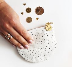 White with Spots Coin Purse  Genuine Leather Back. by ZanaProducts