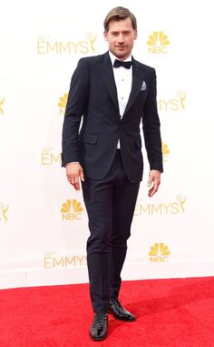 Nikolaj Coster-Waldau from 2014 Emmys: Menswear  The Game of Thrones hunk ditches his King's Landing wardrobe for a Salvatore Ferragamo tux.