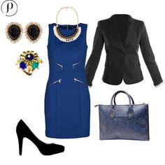 Blue and Glam: El azul rey queda perfecto con prendas color negro. Un outfit muy chic y glam para destacar