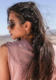 Silver Engraved Hair Rings Set - New
