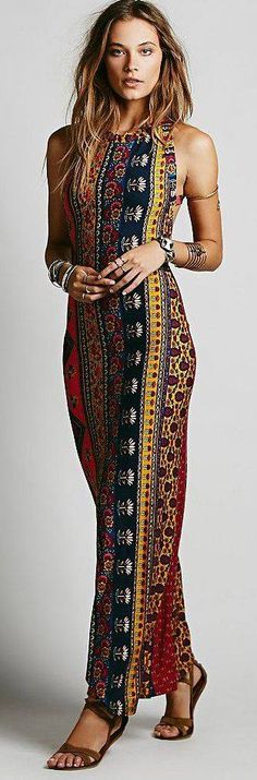 Sexy ethnic inspired tribal print maxi dress for a boho chic allure. For the BEST Bohemian fashion trends FOLLOW https://www.pinterest.com/happygolicky/the-best-boho-chic-fashion-bohemian-jewelry-gypsy-/ now