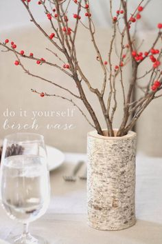 DIY Drilled Out Log Vase and Berries