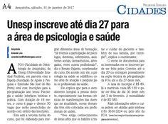 Unesp inscreve até dia 27 para a área de psicologia saúde. Fonte: Folha da Região