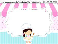 Aviso para Comida Festa Confeitaria Cloud Party, Cupcake Toppers Free, Kitchen Background, Book Logo, Cake Logo, Baking Party, Paper Crafts, Diy Crafts, Backyard Patio Designs