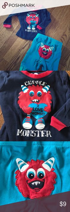"Cuddle Monster pajamas 2pc long sleeve pajamas from children's place. ""Cuddle monster"", in excellent condition. Children's Place Pajamas Pajama Sets"