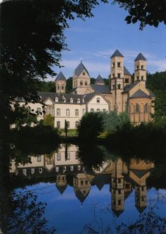 Maria Laach Abbey is a Benedictine abbey situated on the southwestern shore of the Laacher See, near Andernach, in the Eifel region of the Rhineland-Palatinate in Germany