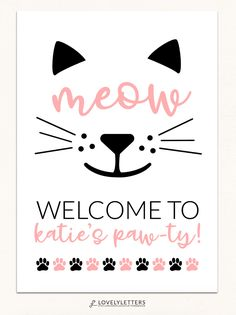 Kitty Party Printables designed by Lovely Letters Design lovelylettersdesign.com #CatBirthday